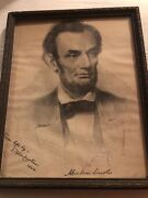 President Abraham Lincoln 8-1/2 X 11 Photo And Copy Of Autograph 1864