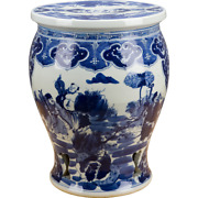 Chinese Oriental Blue And White Porcelain Round Garden Seat With People