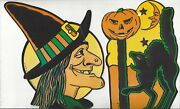 Halloween Beistle Witch And Cat Holiday Window Decor Made In Usa Vintage Original