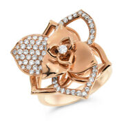 18k Rose White Yellow Gold Pave Diamond Wide Cocktail Flower Rose Ring