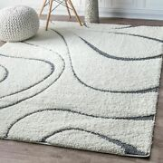 Nuloom Shaggy Curves Design Contemporary Modern Shag Area Rug In Off White