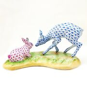 Herend Fawn And Bunny Blue Raspberry Fishnet Figurine 2008 Guild Ltd Ed 7.5 X 3.5