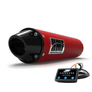 Hmf Performance Slip On Exhaust Red Black Euro End Cap Efi Optimizer Grizzly 700
