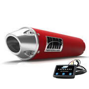 Hmf Performance Slip On Exhaust Red Polished Euro End Cap Optimizer Grizzly 550