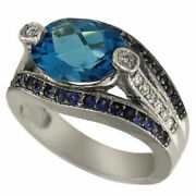 Art Deco Blue Topaz Oval Ring With Diamonds And Blue Sapphires 14k Wg Size 6+