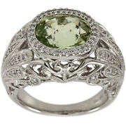 Antique Green Amethyst Oval Prasiolite Ring With Diamonds In 14kt Wg Size 5.75