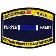4.5 Navy Combat Wounded Purple Heart Vietnam Veteran Embroidered Patch