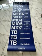 Collectible Complete Ny Nyc Bus Roll Sign 20+ft Wall Street Wards Island Triboro