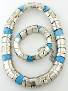 Mexican Sterling Silver Turquoise Necklace And Bracelet Set