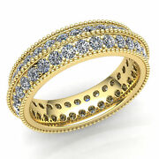 Genuine 2 Ct Round Cut Diamond Ladies 2row Stackable Eternity Band Ring 18k Gold