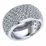 3.75 Ctw Round Diamond Womenand039s 5row Pave Eternity Band With Sizing Bar 14k Gold