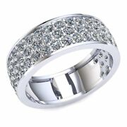 Natural 2.1 Ct Round Diamond Ladies 3 Row Pave Eternity With Sizing Bar 18k Gold