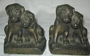 Antique Us 9 1/2 Lb Solid Cast Iron Hubley 272 Orphan Toy Puppy Dog Art Bookends