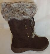 Brown Lace Up Suede And Faux Fur Womenand039s Warm Cozy Winter Boots Size 8 Medium