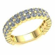Natural 2.15 Ct Round Cut Diamond Ladies 2row Eternity With Sizing Bar 14k Gold