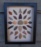 N7 6x8 Framed Neolithic Artifacts Display Arrowheads Celt Beads Points Arrow