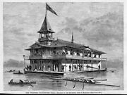 Columbia College Boat-house 1875 Antique Engraving Rowing Sculling Boats Oars