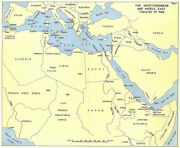 World War Two. Mediterranean And Middle East Theatre. Ww2 1954 Old Vintage Map