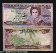 East Caribbean States St.lucia 20 Dollars P24l2 1988 Queen Boat Sign 2 Banknote