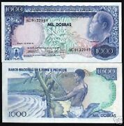 St.thomas And 1000 Dobras P55 1977 Fruit Unc Currency Money Portugal Note