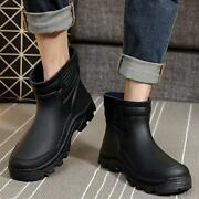 Chic Mens Waterproof Rubber Ankle Pull On Rain Boots Fishing Outdoor Pumps Shoes
