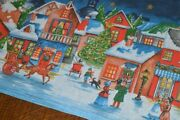 Ye Olden Day Christmas In A Victorian Village Vintage German Print Tablecloth