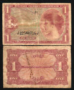 Usa United States 1 Dollar P M61 1965 Military Payment Mpc Ser. 641 Woman Note