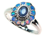 Platinum Sapphire And Opal Engagement Ring Pt900 Victorian R179 - Custom