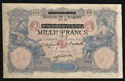 Tunisia 1000 On 100 Francs P31 1942 Large French Under Germany Occupation Note