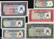Muscat And Oman 100 1/4 1/2 1 5 10 Rial 1 2 3 4 5 6 1970 Complete Unc Set Banknote