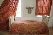Antique French Red Curtain Bed Cover + Fabric Set C 1840