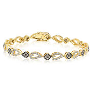 14k Yellow Gold Pave 1.48c Champagne Brown Diamond Cluster Link Tennis Bracelet