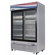 Atosa Mcf8709gr 2 Sliding Glass Doors Refrigerator Stainless Steel W/casters Led