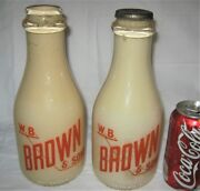 2 Antique R.i. Usa Country W.b. Brown And Sons Dairy Cow Farm Glass Milk Bottles