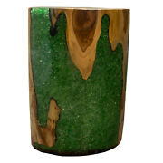 Round Cylinder End Side Table Night Stand Teak Wood Lucite Green Rs11brgrn-09