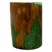 Round Cylinder End Side Table Night Stand Teak Wood Lucite Green Rs11brgrn-10