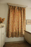 Pair Curtains Antique French Floral And Stripe Design Roses, Faded Printed Linen