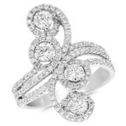 14k White Gold Pave Round 1.51c Diamond Right Hand Long Finger Cocktail Ring