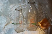 Vintage Two Glass Milk Bottles Farmers Co-op And Bordenand039s Dairy