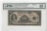 1935 Bank Of Canada Bc-8, 10 Osb/tow Sn F207111 , Pmg Vf-25 French
