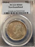 1919c Newfoundland Andcent50 Cent Pcgs Graded Ms-64