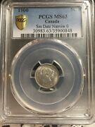 1900 Oval Narrow0 Pcgs Graded Canadian Small Silver Five Cent Ms-630848