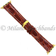 38mm Milano Tan White Stitched Gen.crocodile Mens Band Xl - Fits Apple Watch 1and2