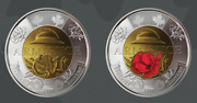 Canada 2 Coins Set Of 2 Coloured And Plain Armistice 100 Years Remembrance Day