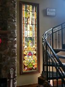 Large Antique Stained Glass Window 9 Ft 2 In Tall By 2 Ft 4 In Wide