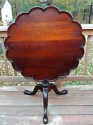 Authentic 19th Century American Tilt Top Table Hand Carved Pie Crust Pad Feet