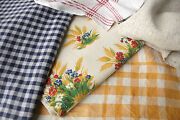 Antique Vintage French Fabrics Materials Orange And Blue Project Bundle Pack