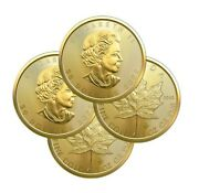 Lot Of 4 Gold 2021 Maple 1 Oz Canadian Gold Maple Leaf 50 .9999 Fine Coins