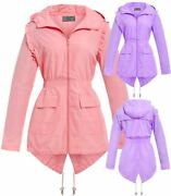 Womens Showerproof Raincoat Hooded Frill Fishtail Pink Lilac Plus Size 18 To 24