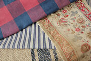 Antique Vintage French Fabrics Materials Project Bundle Blues Reds Lovely